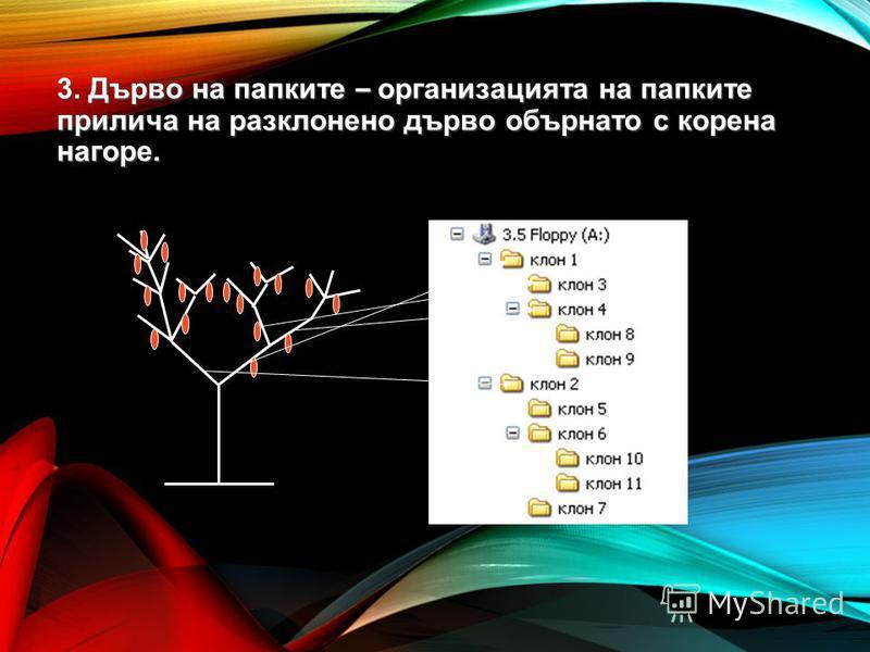 3. Дърво на папките – организацията на папките прилича на разклонено дърво обърнато с корена нагоре.