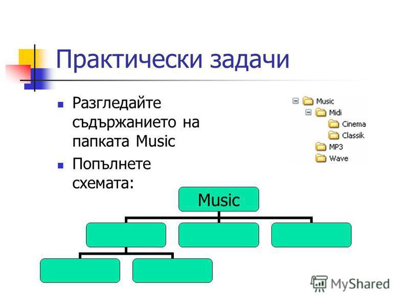 Практически задачи Разгледайте съдържанието на папката Music Попълнете схемата: Music