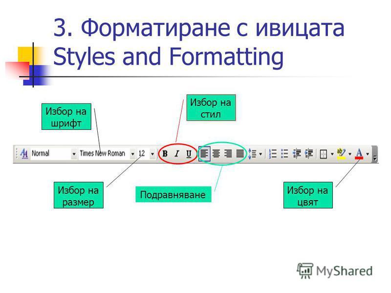 3. Форматиране с ивицата Styles and Formatting Избор на шрифт Избор на размер Избор на стил Подравняване Избор на цвят