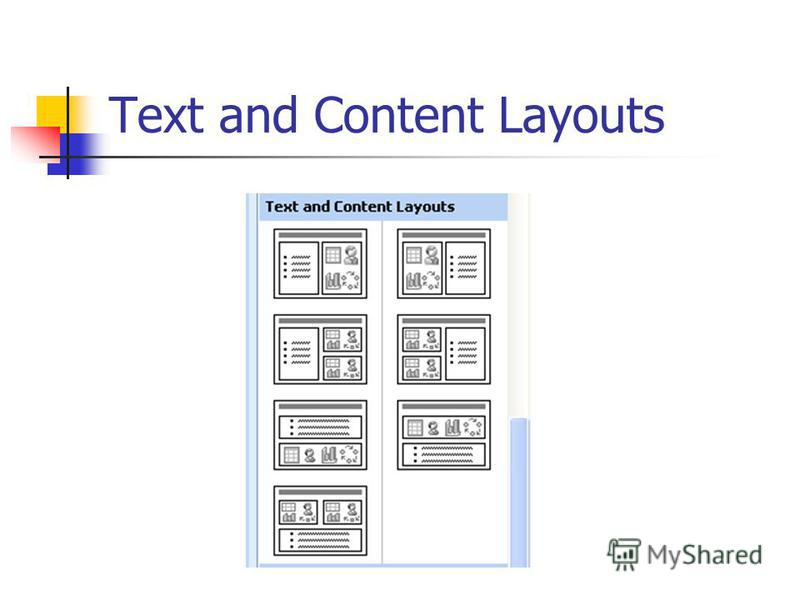 Text and Content Layouts