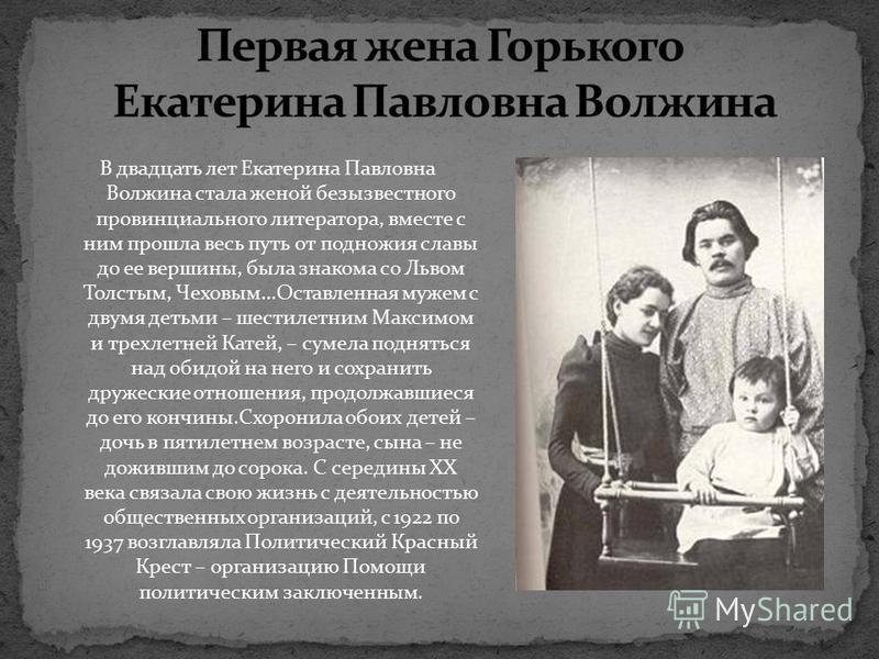 В двадцать лет Екатерина Павловна Волжина стала женой безызвестного провинциального литератора, вместе с ним прошла весь путь от подножия славы до ее вершины, была знакома со Львом Толстым, Чеховым…Оставленная мужем с двумя детьми – шестилетним Макси