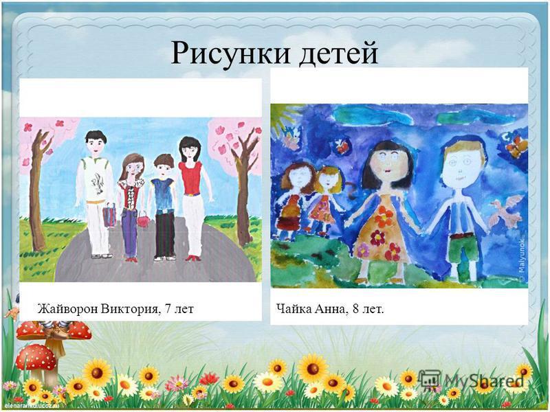 Рисунки детей Чайка Анна, 8 лет.Жайворон Виктория, 7 лет