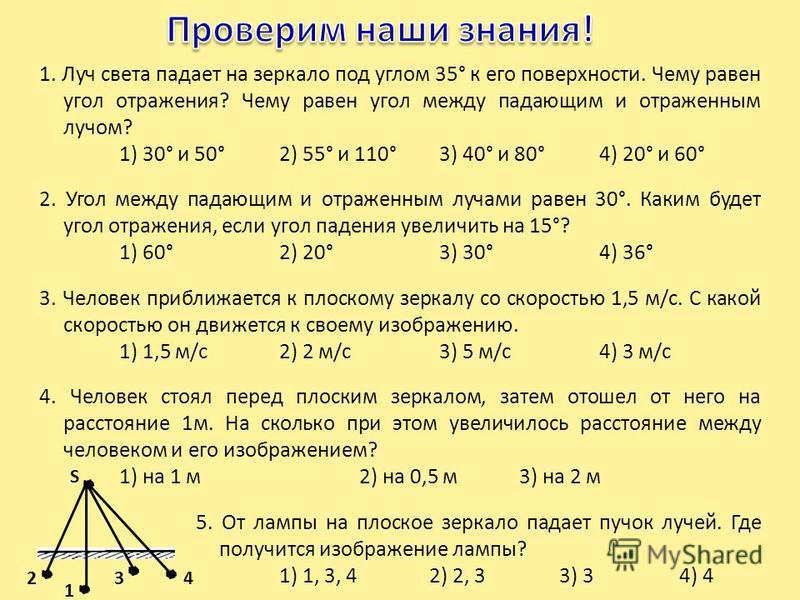 1. Луч света падает на зеркало под углом 35° к его поверхности. Чему равен угол отражения? Чему равен угол между падающим и отраженным лучом? 1) 30° и 50°2) 55° и 110°3) 40° и 80°4) 20° и 60° 2. Угол между падающим и отраженным лучами равен 30°. Каки