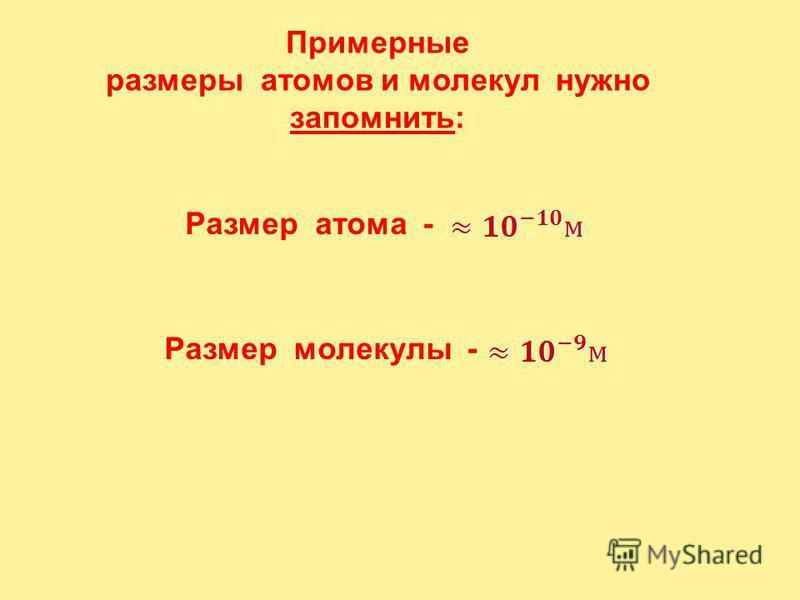 Линейные размеры атома Радиус простейшего атома - водорода Радиус атома гелия Радиус атома урана ок. 0,1 нм 0,053 нм 0,105 нм 0,15 нм Если молекулу воды увеличить в миллион раз, то она будет иметь размер точки (примерно 0,3 мм). При таком же увеличен