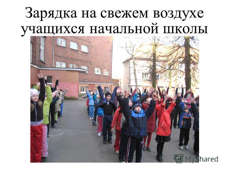 Зарядка на свежем воздухе учащихся начальной школы