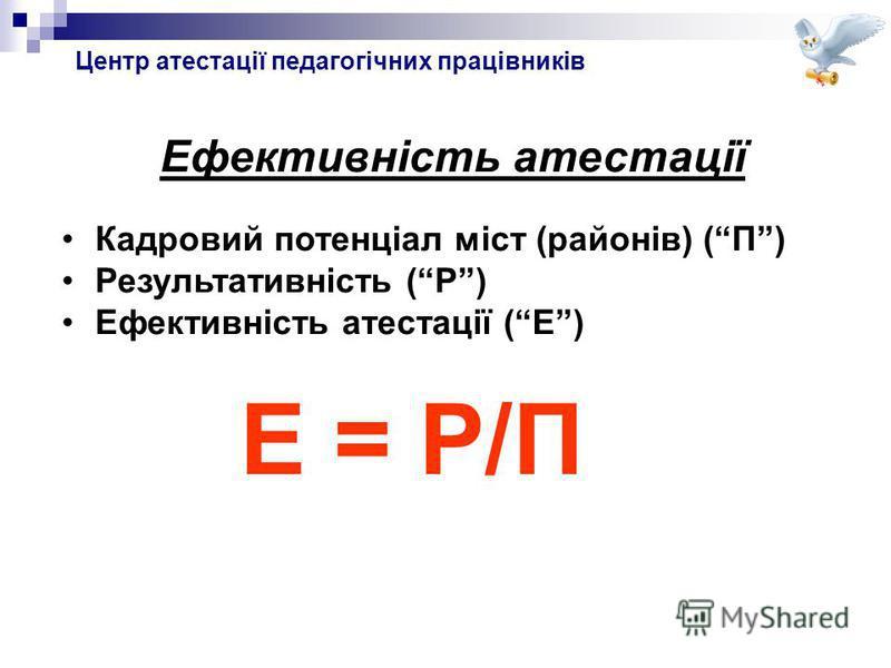 Ефективність атестації Кадровий потенціал міст (районів) (П) Результативність (Р) Ефективність атестації (Е) Е = Р/П