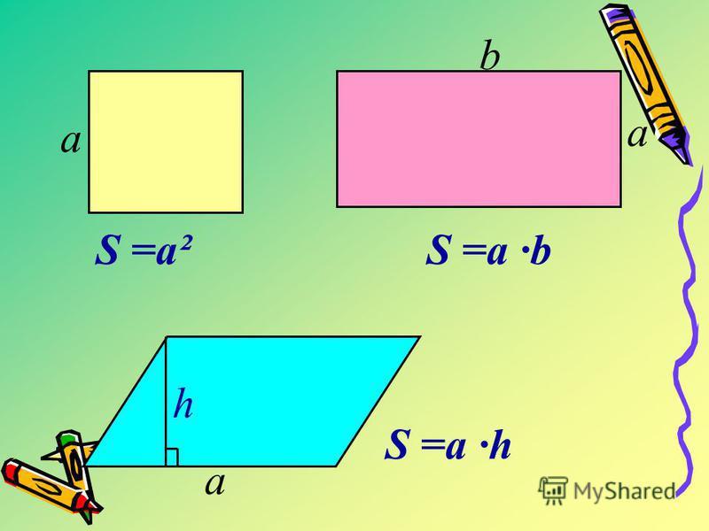 h S =a h S =a²S =a b а a b a