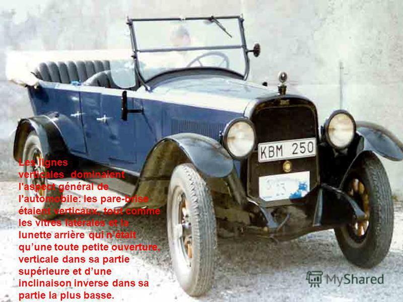 Les lignes verticales dominaient l'aspect général de l'automobile: les pare-brise étaient verticaux, tout comme les vitres latérales et la lunette arrière qui nétait quune toute petite ouverture, verticale dans sa partie supérieure et dune inclinaiso