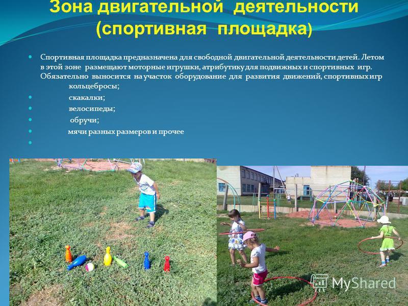Зона двигательной деятельности (спортивная площадка ) Спортивная площадка предназначена для свободной двигательной деятельности детей. Летом в этой зоне размещают моторные игрушки, атрибутику для подвижных и спортивных игр. Обязательно выносится на у
