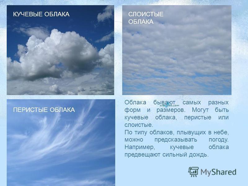 Облака бывают самых разных форм и размеров. Могут быть кучевые облака, перистые или слоистые. По типу облаков, плывущих в небе, можно предсказывать погоду. Например, кучевые облака предвещают сильный дождь. КУЧЕВЫЕ ОБЛАКА ПЕРИСТЫЕ ОБЛАКА СЛОИСТЫЕ ОБЛ