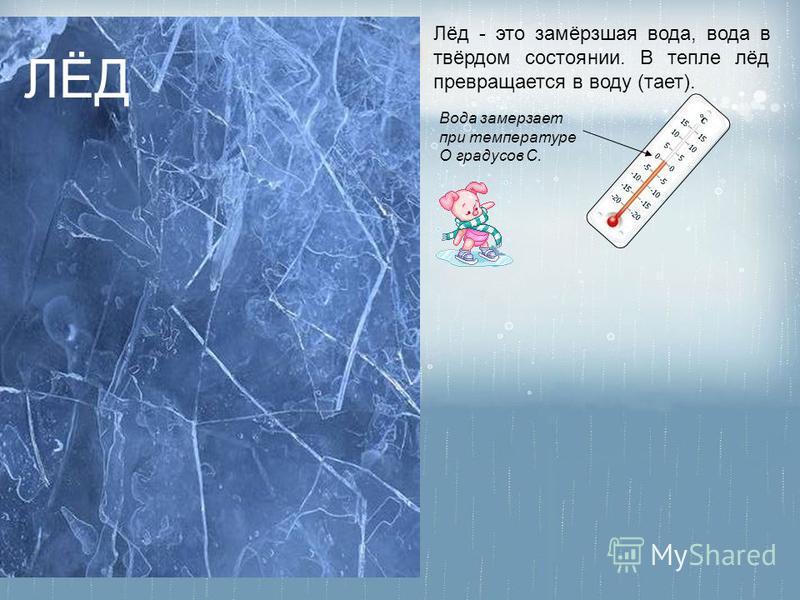 Вода замерзает при температуре О градусов С. Лёд - это замёрзшая вода, вода в твёрдом состоянии. В тепле лёд превращается в воду (тает). ЛЁД