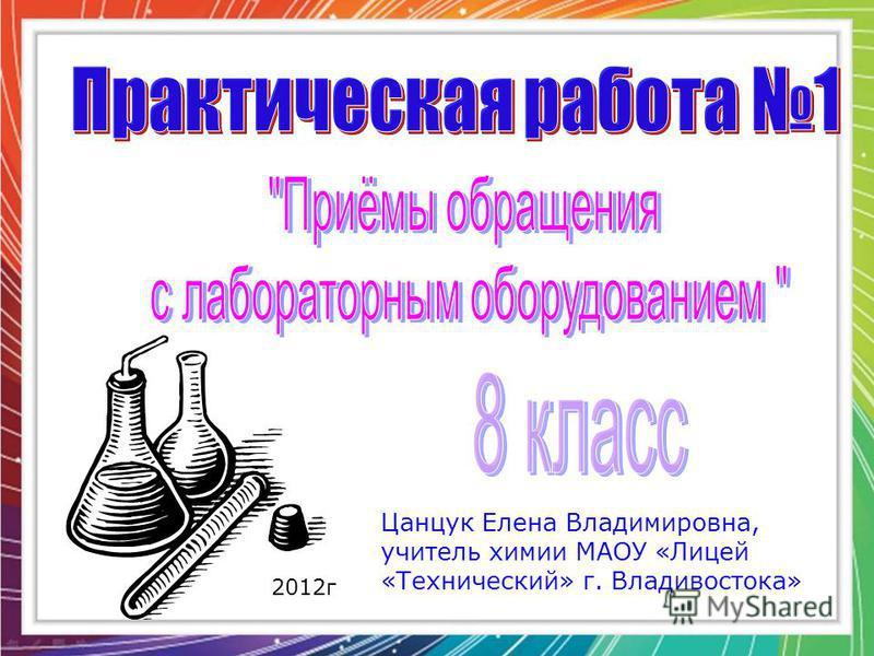 Цанцук Елена Владимировна, учитель химии МАОУ «Лицей «Технический» г. Владивостока» 2012 г