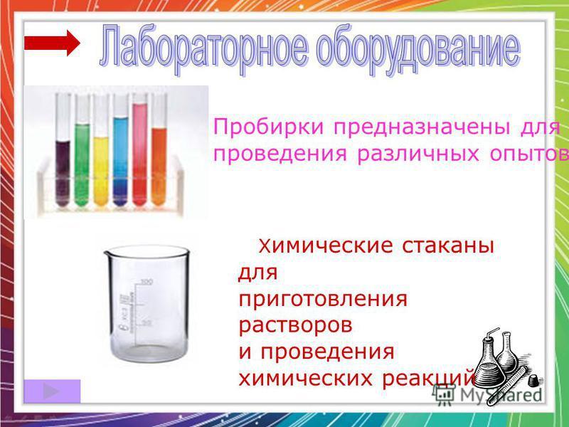 Пробирки предназначены для проведения различных опытов Х имические стаканы для приготовления растворов и проведения химических реакций