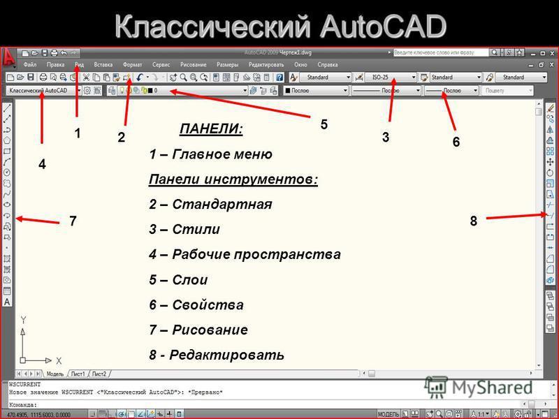 5 Классический AutoCAD ПАНЕЛИ: 1 – Главное меню Панели инструментов: 2 – Стандартная 3 – Стили 4 – Рабочие пространства 5 – Слои 6 – Свойства 7 – Рисование 8 - Редактировать 1 23 4 5 6 78