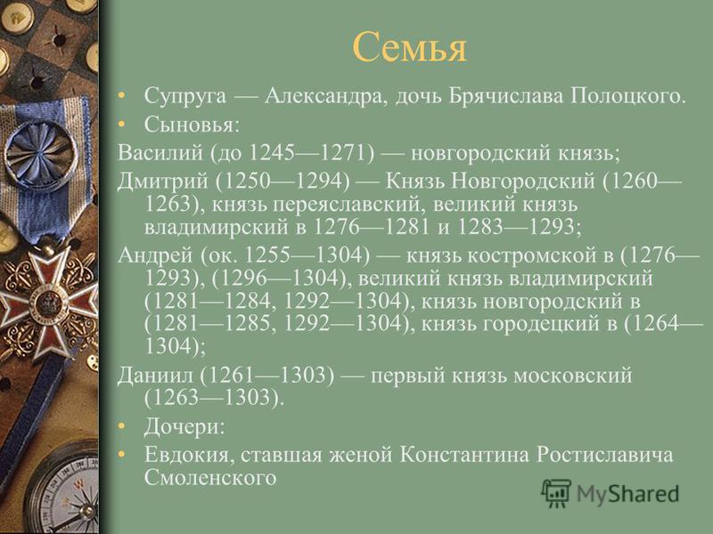 Семья Супруга Александра, дочь Брячислава Полоцкого. Сыновья: Василий (до 12451271) новгородский князь; Дмитрий (12501294) Князь Новгородский (1260 1263), князь переяславский, великий князь владимирский в 12761281 и 12831293; Андрей (ок. 12551304) кн