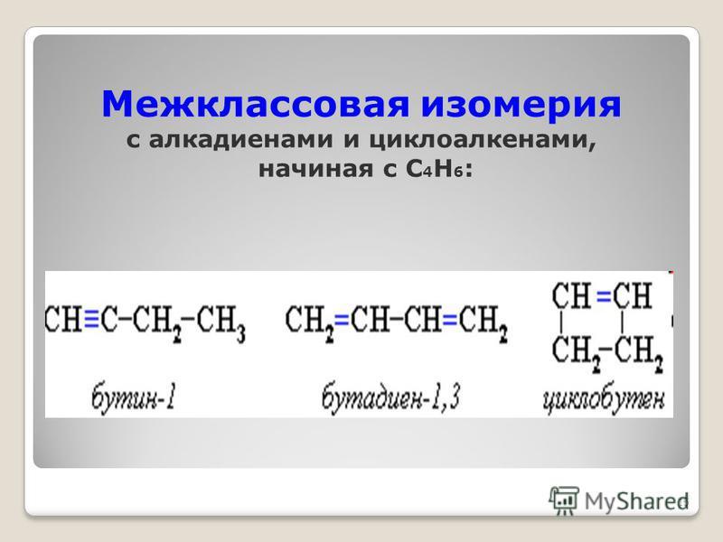 Межклассовая изомерия с алкадиенами и циклоалканами, начиная с С 4 Н 6 : 15