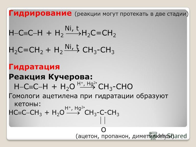 Гидрирование (реакции могут