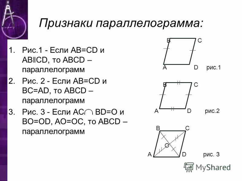Признаки парольелограмма: 1.Рис.1 - Если AB=CD и AB ǁ CD, то ABCD – парольелограмм 2.Рис. 2 - Если AB=CD и BC=AD, то ABCD – парольелограмм 3.Рис. 3 - Если AC BD=O и BO=OD, AO=OC, то ABCD – парольелограмм В С А D рис.1 В С А D рис.2 B C О A D рис. 3