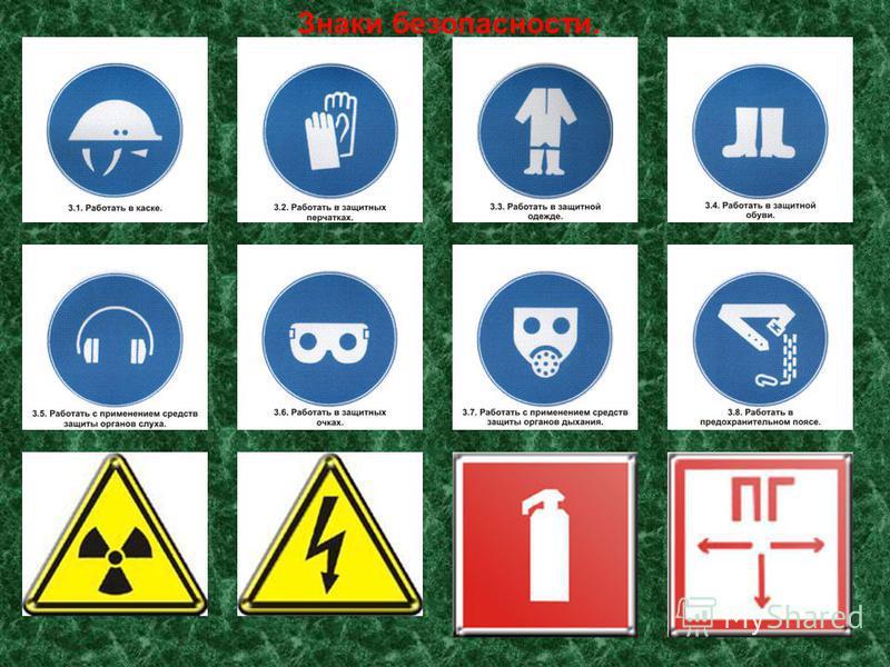 Знаки безопасности.