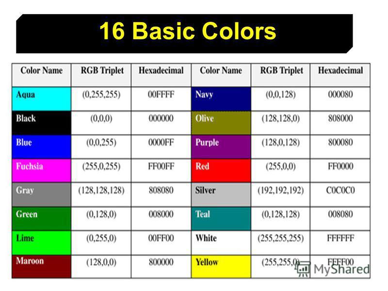 13 16 Basic Colors
