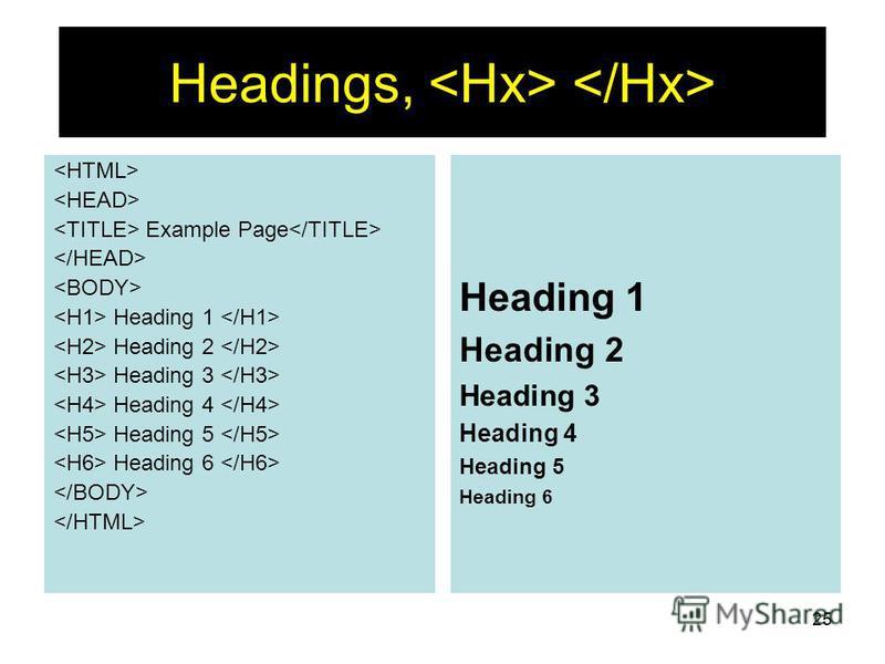 25 Headings, Example Page Heading 1 Heading 2 Heading 3 Heading 4 Heading 5 Heading 6 Heading 1 Heading 2 Heading 3 Heading 4 Heading 5 Heading 6