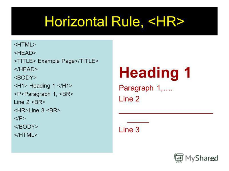 32 Horizontal Rule, Example Page Heading 1 Paragraph 1, Line 2 Line 3 Heading 1 Paragraph 1,…. Line 2 ______________________ _____ Line 3