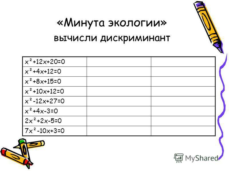 «Минута экологии» вычисли дискриминант х²+12 х+20=0 х²+4 х+12=0 х²+8 х+15=0 х²+10 х+12=0 х²-12 х+27=0 х²+4 х-3=0 2 х²+2 х-5=0 7 х²-10 х+3=0