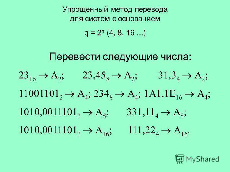 Упрощенный метод перевода для систем с основанием q = 2 n (4, 8, 16...) Перевести следующие числа: 23 16 А 2 ; 23,45 8 А 2 ; 31,3 4 А 2 ; 11001101 2 А 4 ; 234 8 А 4 ; 1A1,1E 16 А 4 ; 1010,0011101 2 А 8 ; 331,11 4 А 8 ; 1010,0011101 2 А 16 ; 111,22 4