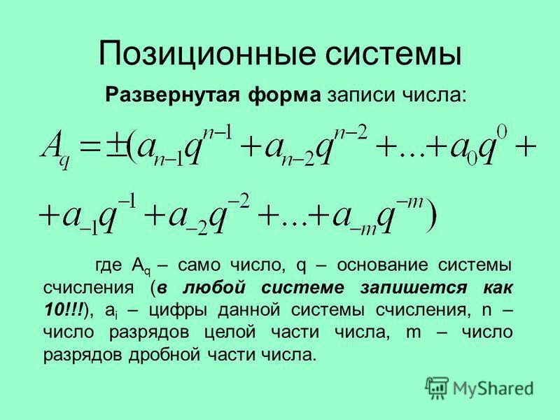 Позиционные системы где A q – само число, q – основание системы счисления (в любой системе запишется как 10!!!), a i – цифры данной системы счисления, n – число разрядов целой части числа, m – число разрядов дробной части числа. Развернутая форма зап