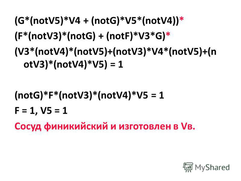 (G*(notV5)*V4 + (notG)*V5*(notV4))* (F*(notV3)*(notG) + (notF)*V3*G)* (V3*(notV4)*(notV5)+(notV3)*V4*(notV5)+(n otV3)*(notV4)*V5) = 1 (notG)*F*(notV3)*(notV4)*V5 = 1 F = 1, V5 = 1 Сосуд финикийский и изготовлен в Vв.