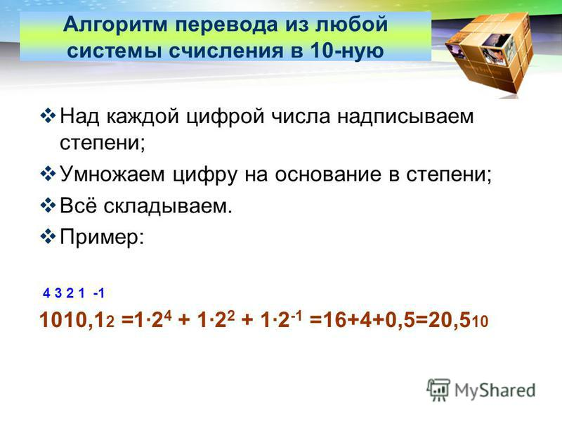 LOGO www.themegallery.com Алгоритм перевода из любой системы счисления в 10-ную Над каждой цифрой числа надписываем степени; Умножаем цифру на основание в степени; Всё складываем. Пример: 4 3 2 1 -1 1010,1 2 =1·2 4 + 1·2 2 + 1·2 -1 =16+4+0,5=20,5 10