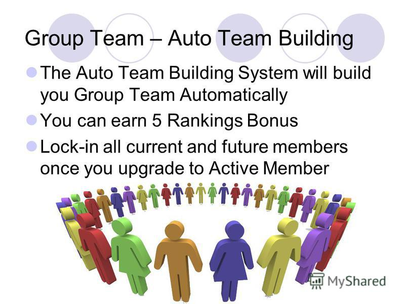 Group Team – Auto Team Building The Auto Team Building System will build you Group Team Automatically You can earn 5 Rankings Bonus Lock-in all current and future members once you upgrade to Active Member