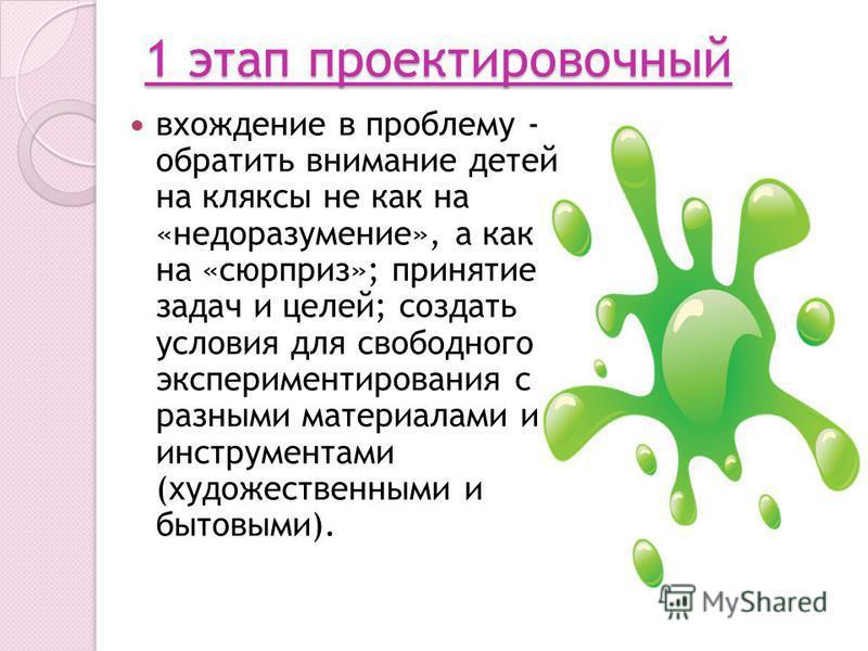 1 этап проектировочный вхождение в проблему - обратить внимание детей на кляксы не как на «недоразумение», а как на «сюрприз»; принятие задач и целей; создать условия для свободного экспериментирования с разными материалами и инструментами (художеств