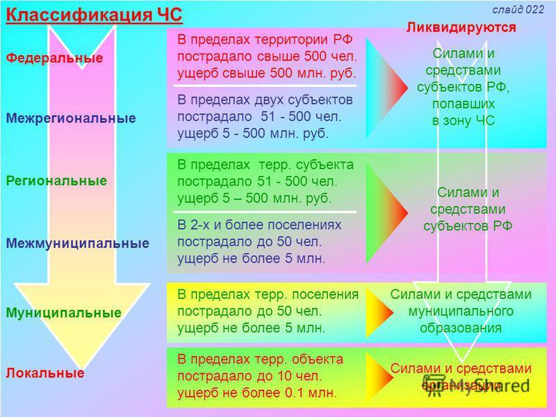 Классификация ЧС Федеральные Межрегиональные Региональные Межмуниципальные Муниципальные Локальные В пределах территории РФ пострадало свыше 500 чел. ущерб свыше 500 млн. руб. В пределах двух субъектов пострадало 51 - 500 чел. ущерб 5 - 500 млн. руб.