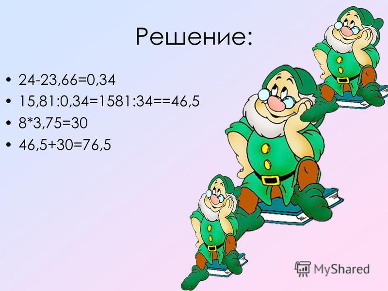 Решение: 24-23,66=0,34 15,81:0,34=1581:34==46,5 8*3,75=30 46,5+30=76,5