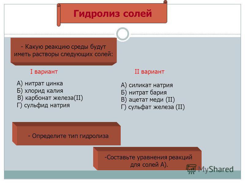 Гидролиз солей - Какую реакцию среды будут иметь растворы следующих солей: I вариант А) нитрат цинка Б) хлорид калия В) карбонат железа(II) Г) сульфид натрия II вариант А) силикат натрия Б) нитрат бария В) ацетат меди (II) Г) сульфат железа (II) - Оп