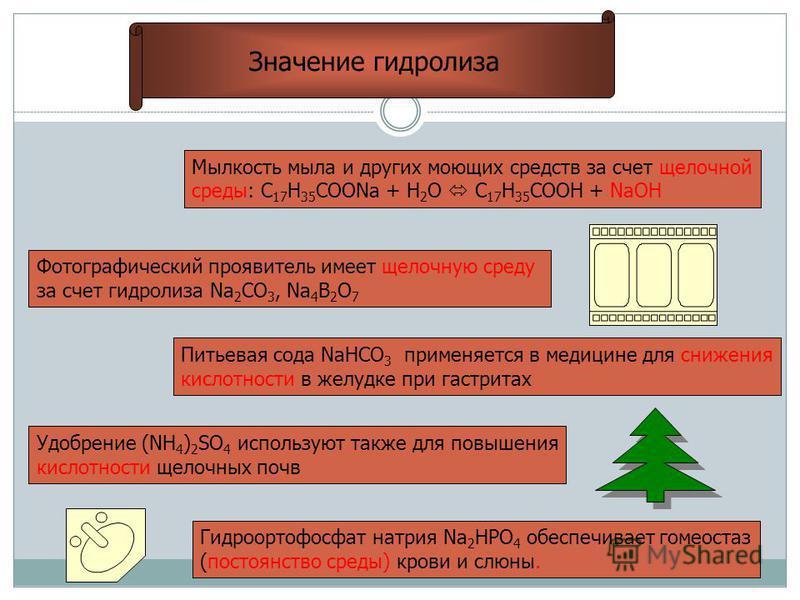 Значение гидролиза Мылкость мыла и других моющих средств за счет щелочной среды: С 17 Н 35 СООNa + H 2 O C 17 H 35 COOH + NaOH Фотографический проявитель имеет щелочную среду за счет гидролиза Na 2 CO 3, Na 4 B 2 O 7 Питьевая сода NaHCO 3 применяется
