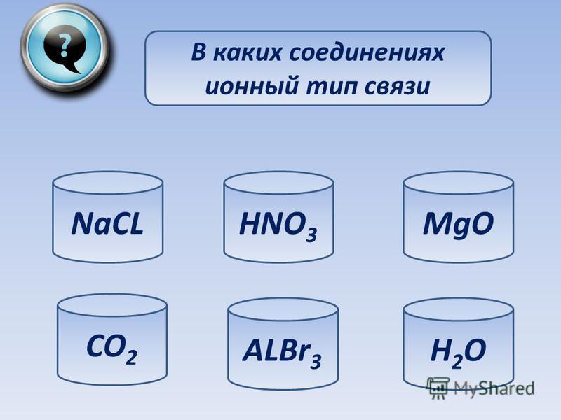 В каких соединениях ионный тип связи NaCL CO 2 ALBr 3 H2OH2O MgOHNO 3