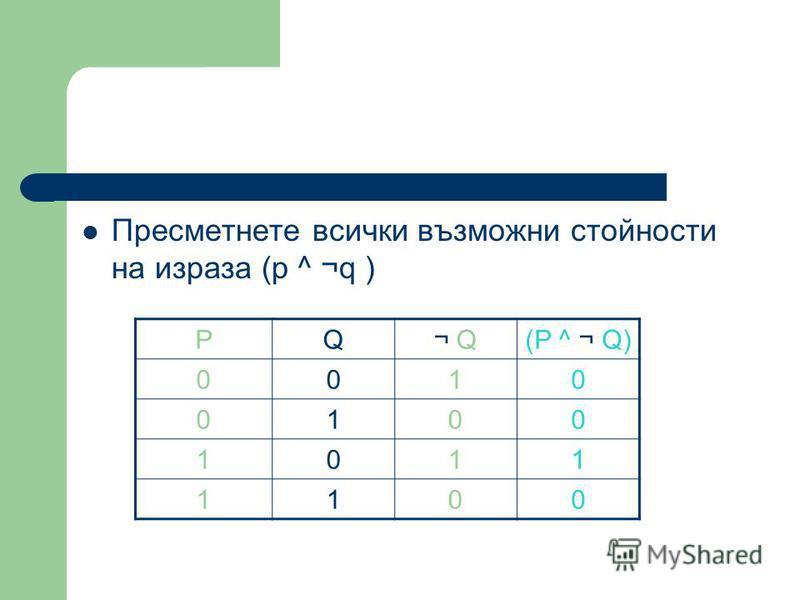 Пресметнете всички възможни стойности на израза (p ^ ¬q ) PQ¬ Q(P ^ ¬ Q) 0010 0100 1011 1100