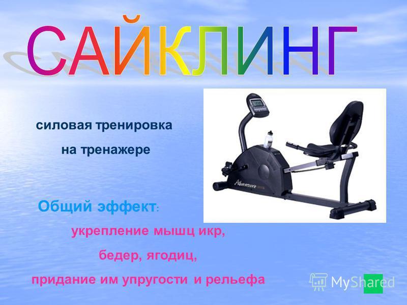 силовая тренировка на тренажере укрепление мышц икр, бедер, ягодиц, придание им упругости и рельефа Общий эффект :