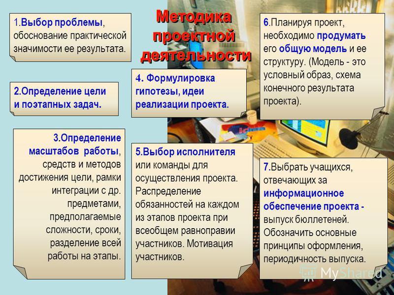 2. Определение цели и поэтапных задач. 3. Определение масштабов работы, средств и методов достижения цели, рамки интеграции с др. предметами, предполагаемые сложности, сроки, разделение всей работы на этапы. 4. Формулировка гипотезы, идеи реализации