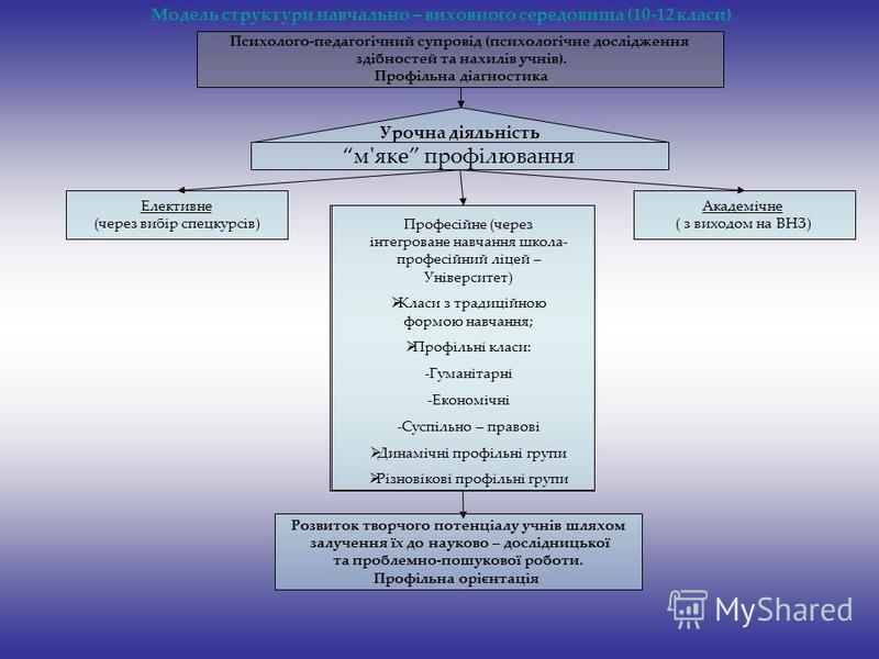 Модель структури навчально – виховного середовища (10-12 класи) Психолого-педагогічний супровід (психологічне дослідження здібностей та нахилів учнів). Профільна діагностика Елективне (через вибір спецкурсів) Академічне ( з виходом на ВНЗ) Урочна дія
