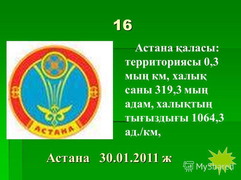 16 Астана қаласы: территориясы 0,3 мың км, халық саны 319,3 мың адам, халықтың тығыздығы 1064,3 ад./км, Астана 30.01.2011 ж Астана 30.01.2011 ж