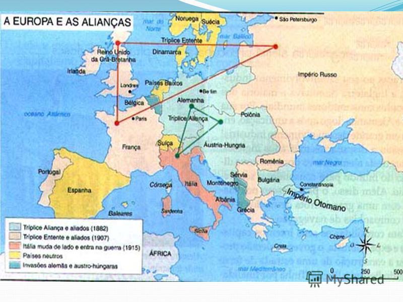 2. A política de alianças e a paz armada Percebendo o inevitável conflito, inicia-se a corrida armamentista; Formação de dois blocos militares