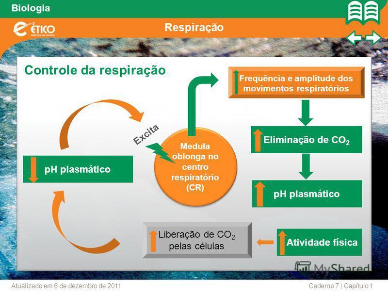 Biologia Respiração Medula oblonga no centro respiratório (CR) Medula oblonga no centro respiratório (CR) Liberação de CO 2 pelas células Excita Frequência e amplitude dos movimentos respiratórios Controle da respiração pH plasmático Eliminação de CO
