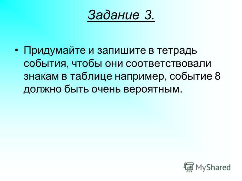 Задание 3. Придумайте и запишите в тетрадь события, чтобы они соответствовали знакам в таблице например, событие 8 должно быть очень вероятным.