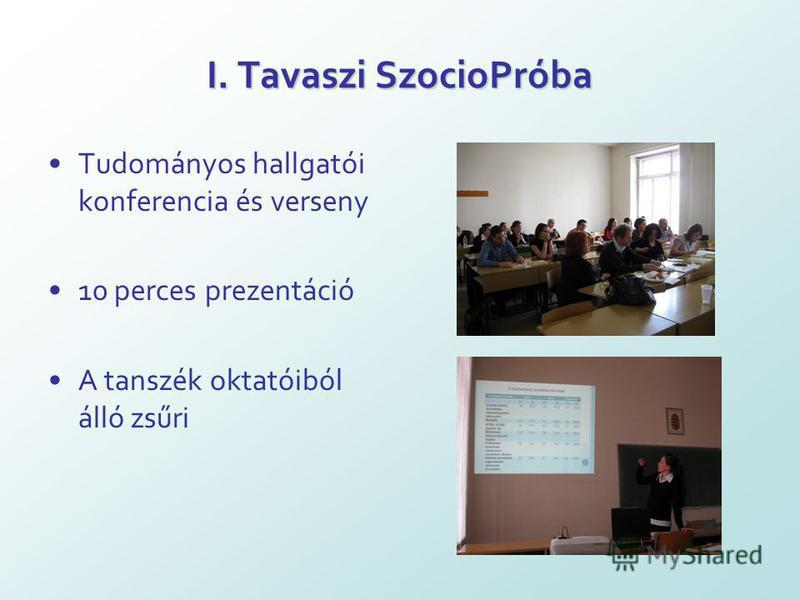 I. Tavaszi SzocioPróba Tudományos hallgatói konferencia és verseny 10 perces prezentáció A tanszék oktatóiból álló zsűri