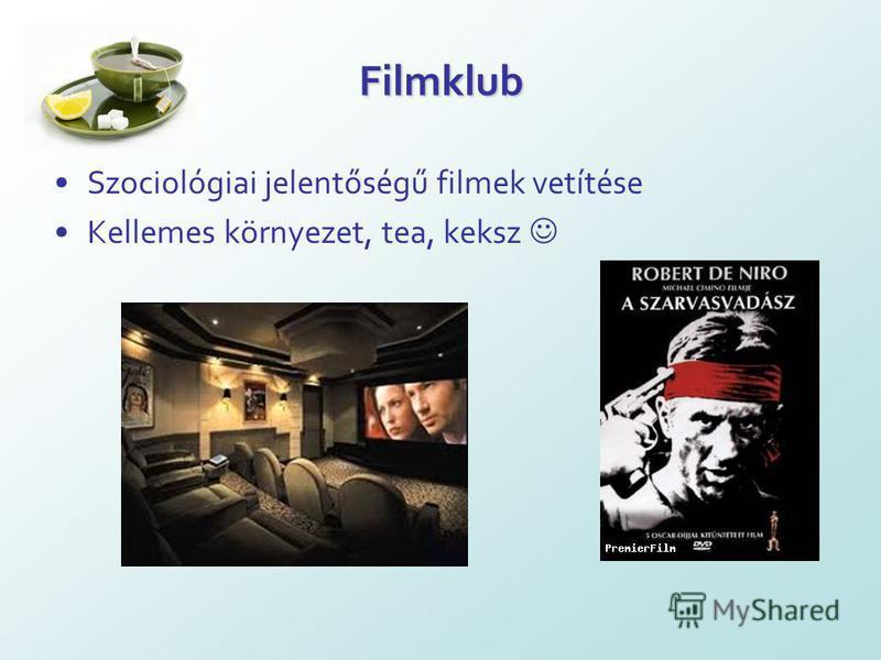 Filmklub Szociológiai jelentőségű filmek vetítése Kellemes környezet, tea, keksz