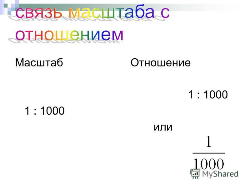 Масштаб Отношение 1 : 1000 или