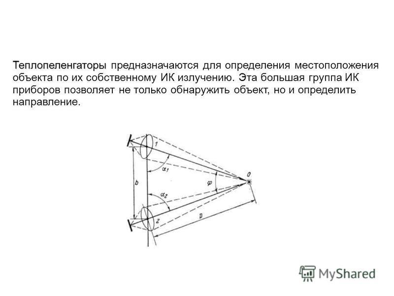 Теплопеленгаторы Теплопеленгаторы предназначаются для определения местоположения объекта по их собственному ИК излучению. Эта большая группа ИК приборов позволяет не только обнаружить объект, но и определить направление.